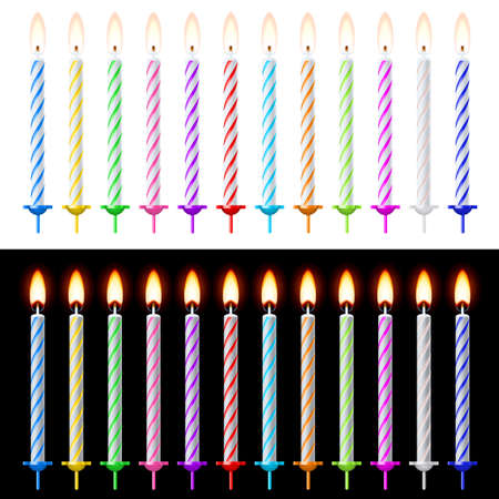 Candles Set. Illustration on white and black background