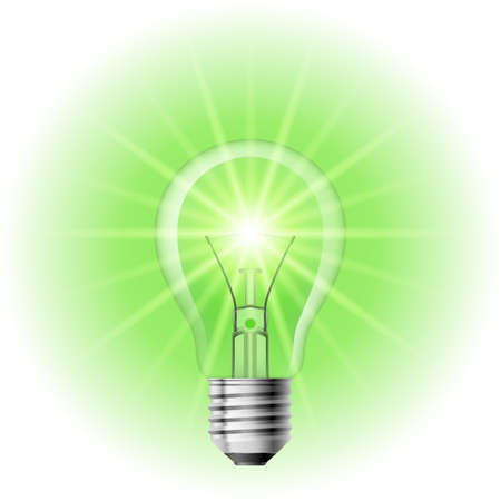 green light bulb: The lamp with the green light. Illustration on white background for design