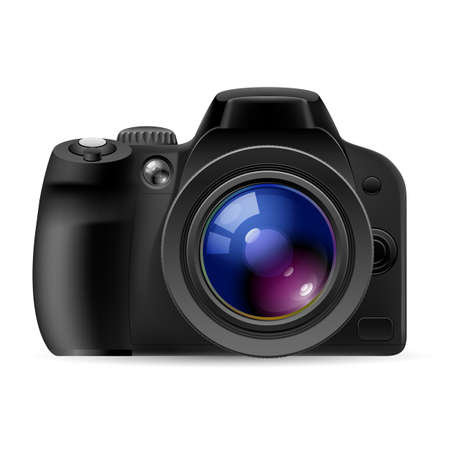 Realistic digital camera. Illustration on white background