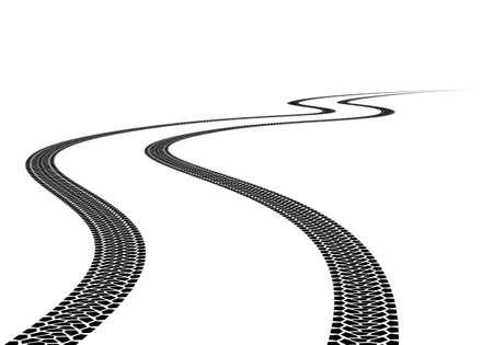 Strada Tire Track. Illustrazione su sfondo bianco Vettoriali