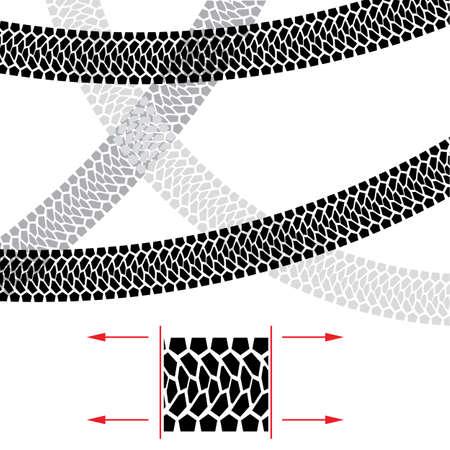 Tire Track. Illustratie voor ontwerp op een witte achtergrond.