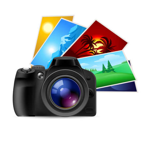 Fotocamera e foto. Illustrazione su sfondo bianco
