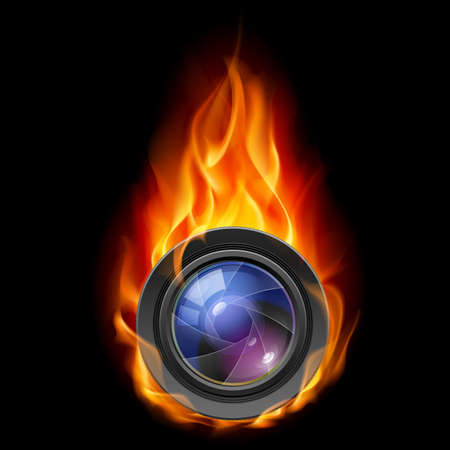 Burning the camera lens. Illustration on black background  Vector