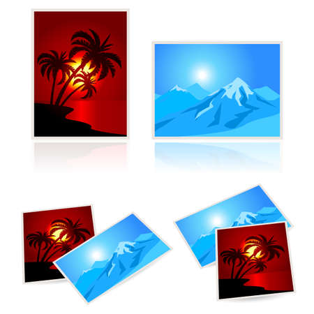 Pictures from vacation.  Illustration on white background  Vector