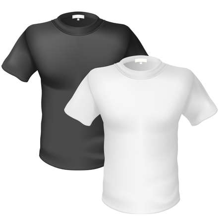 tee shirt template: Black and white T-shirt Front View. Illustration on white background