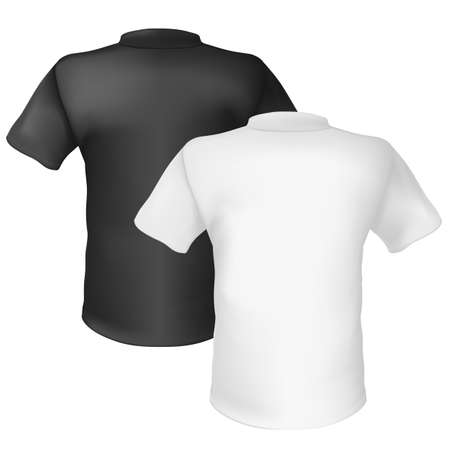 Black and white T-shirt Back View. Illustration on white background  Vector