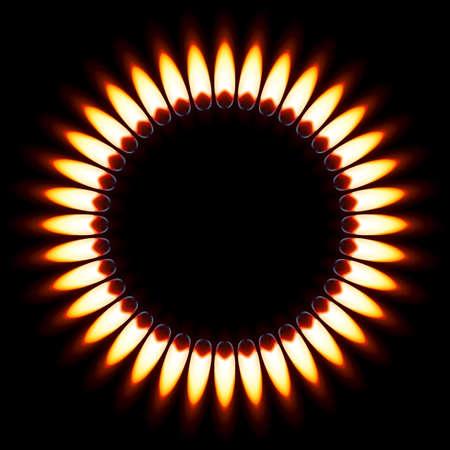 gas flame: Gas Flame Red. Illustrazione su sfondo nero