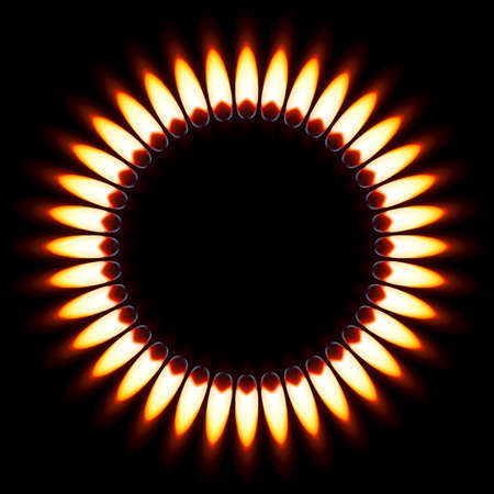 Red Gas Flame. Illustration on black background Vector