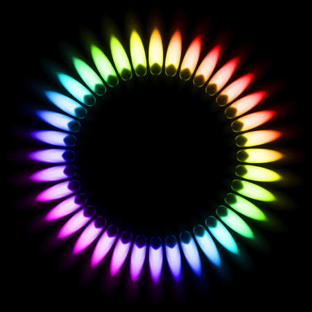 gas burner: Color Gas Flame. Illustration on black background