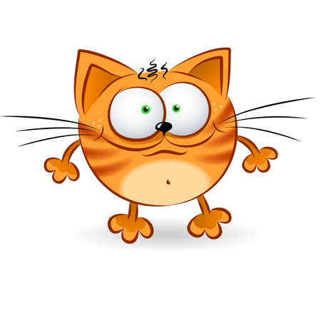 Cartoon illustration of Happy Red Cat on white illustration
