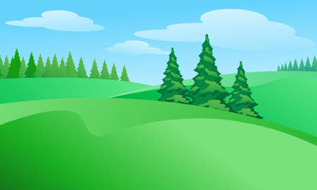 tree in field: Field landscape with trees. Illustration for design