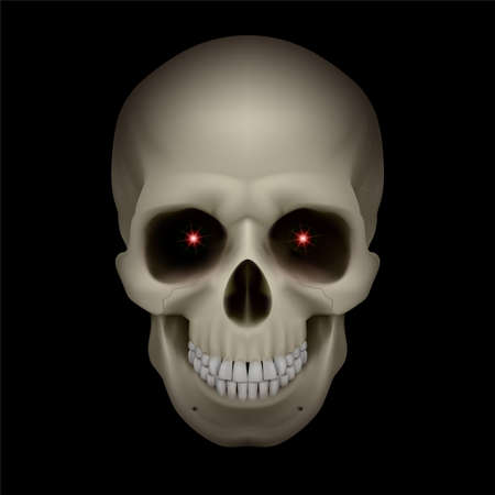 An illustration of a skull with red eyes on black Vector