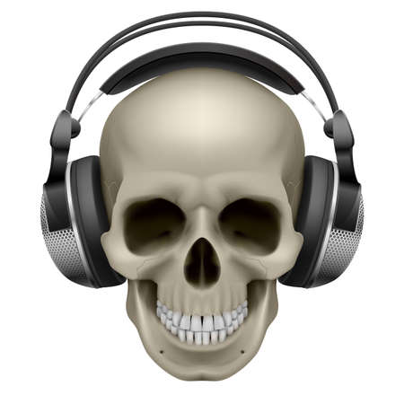 Human skull with music headphones. Illustration on white Иллюстрация