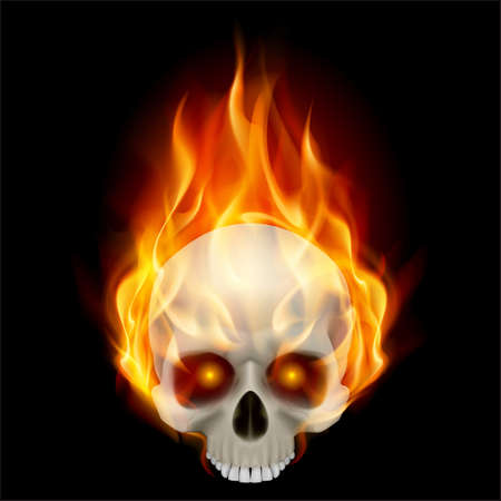 Burning skull in hot flame. Illustration on black background for design Vector