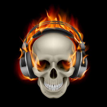 ヘッドホンをつけている燃えるような頭骨のクールなイラスト