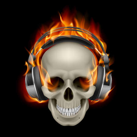 Cool Illustration of Flaming Skull Wearing Headphones  Vector