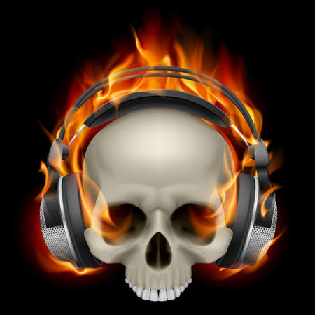 Flaming Skull Wearing Headphones on black background Vector