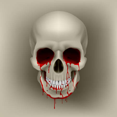 Cool Bleeding Human Skull. Illustration for design Vector