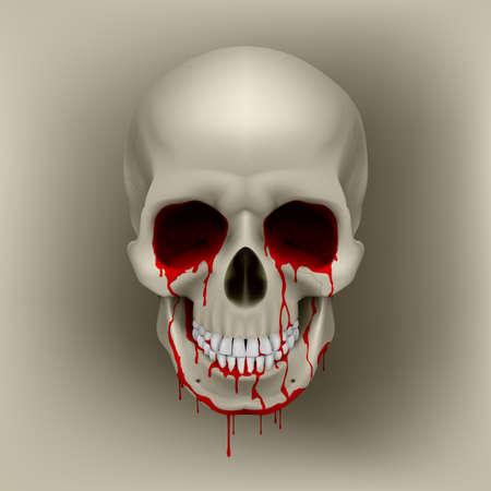 hemorragias: Cráneo humano ensangrentado frío. Ilustración para el diseño Vectores