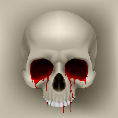 silly: Bleeding Human Skull. Cool Illustration for design Illustration
