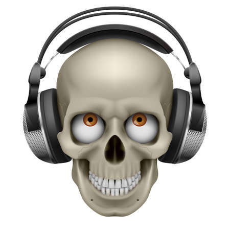fire skull: Human skull with eye and music headphones. Illustration on white