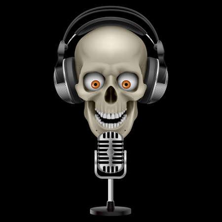 auriculares dj: Cr�neo humano en los auriculares con los ojos. Ilustraci�n sobre fondo negro Vectores