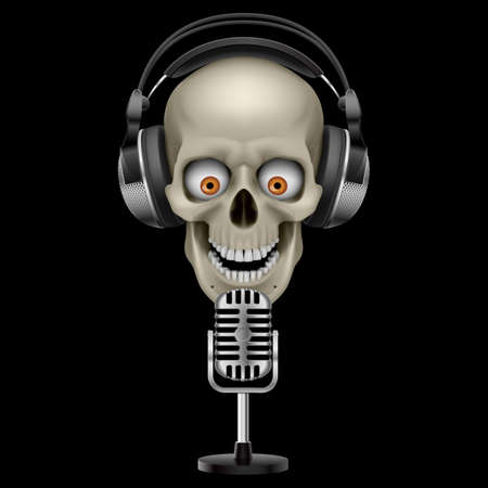 Human Skull in Headphones  with eyes. Illustration on black background