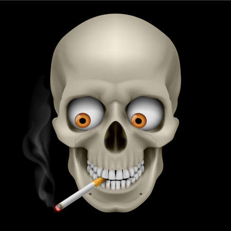 human body substance: Human Skull with eyes and cigarette. Illustration on black background Illustration
