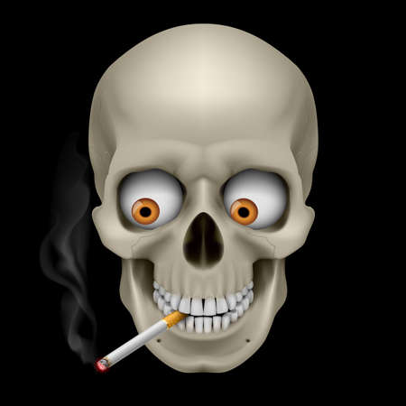 human body substance: Human Skull  with eyes and cigarette. Illustration on black background