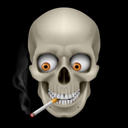 drug addict: Human Skull  with eyes and cigarette. Illustration on black background