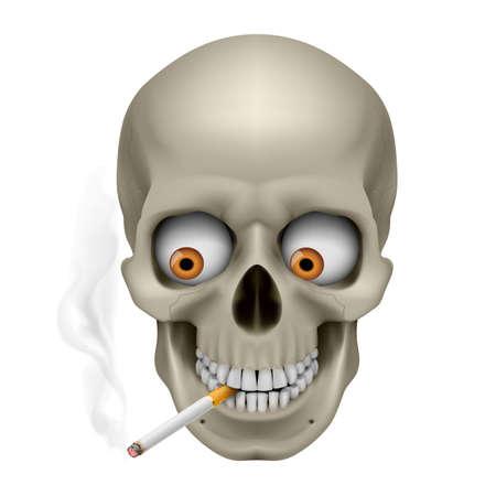sigaretta: Cranio con gli occhi e sigarette. Illustrazione su sfondo bianco
