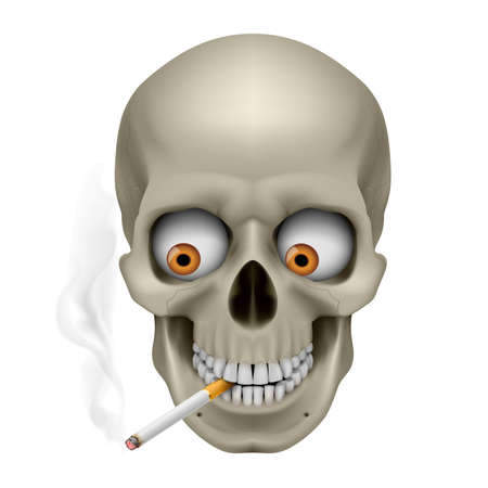 cancer drugs: Human Skull  with eyes and cigarette. Illustration on white background