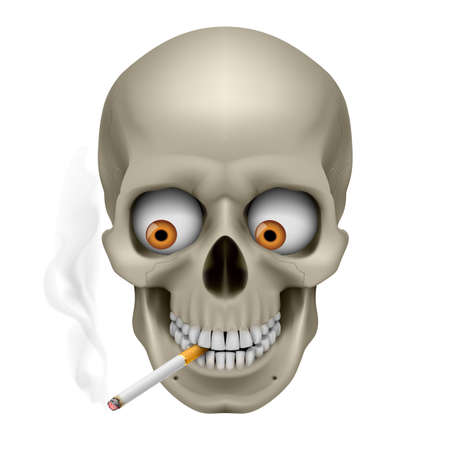 eye socket: Human Skull with eyes and cigarette. Illustration on white background Illustration