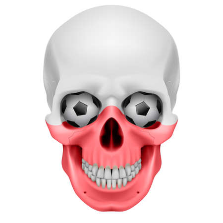 Human Skull with Soccer balls for eyes. Illustration on white background Vector