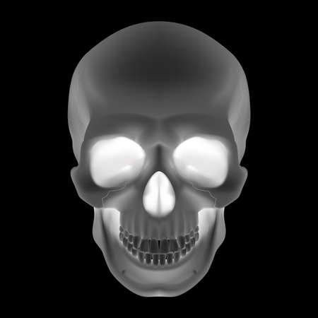 electricity danger of death: Human Skull. Black and White illustration for design