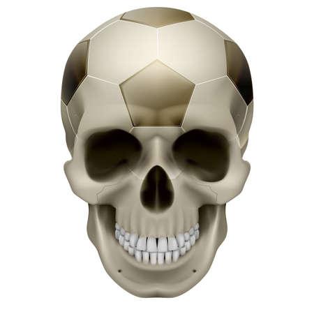 calavera caricatura: Cr�neo humano. F�tbol de dise�o. Ilustraci�n sobre fondo blanco