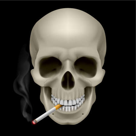 eye socket: Human Skull with a cigarette. Illustration on black background