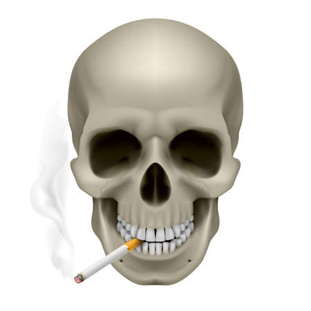 abuse: Human Skull with a cigarette. Illustration on white background Illustration