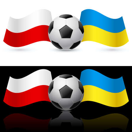 uefa: Europe on football Twenty-Twelve Ukraine and Poland. Illustration on white and black.