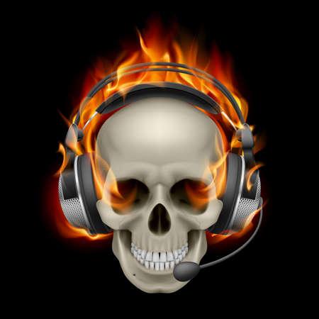 ヘッドフォンで燃えるような頭骨。黒の背景イラスト