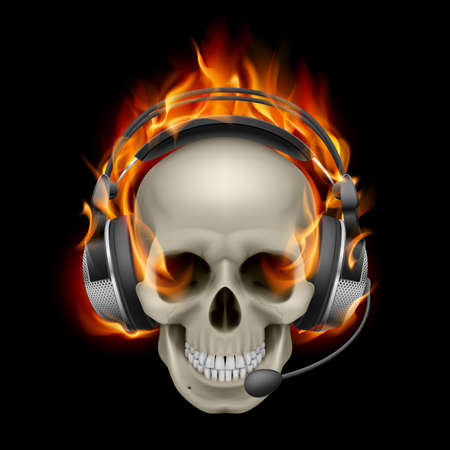 Flaming Skull with headphones. Illustration on black background Illustration