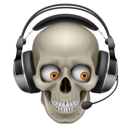headset symbol: Cool Skull with headphones.  Illustration on white background Illustration
