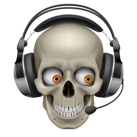 microfono antiguo: Cr�neo fresco con los auriculares. Ilustraci�n sobre fondo blanco