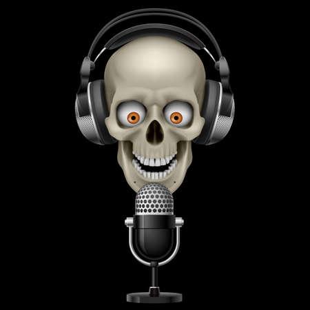 audifonos dj: Cráneo con auriculares con micrófono. Ilustración sobre fondo negro