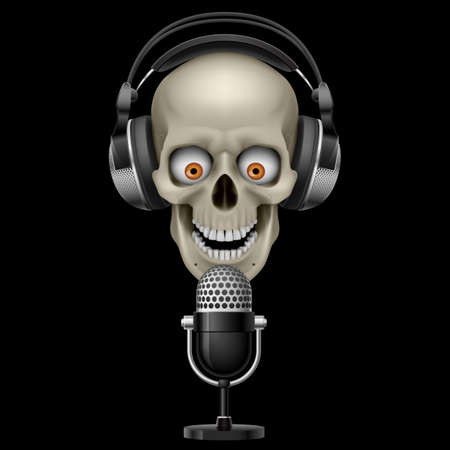 dance music: Skull with headphones with microphone. Illustration on black background