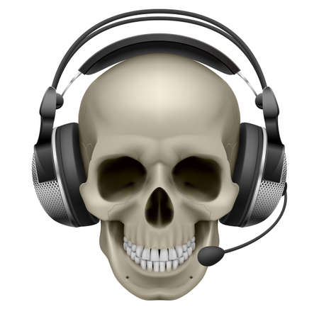 face with headset:  Skull with headphones. Illustration on white background