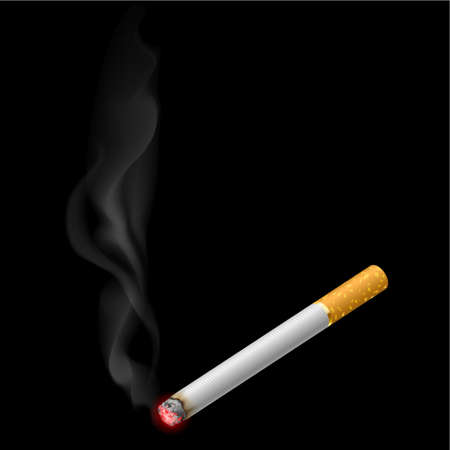 cigarette smoke: Burning cigarette. Illustration on black background for design