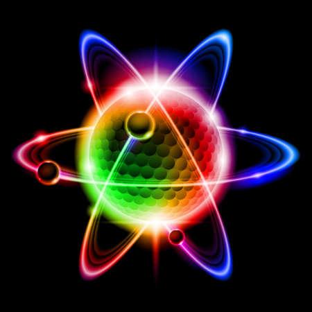 quantum: Groene atoom elektron. llustration op zwarte achtergrond