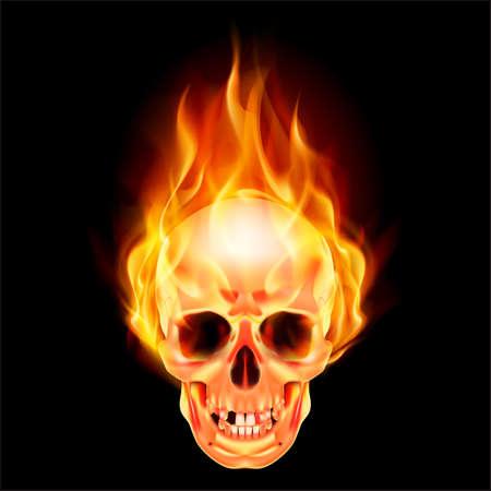 tete de mort: Cr�ne effrayant sur le feu. Illustration sur fond noir