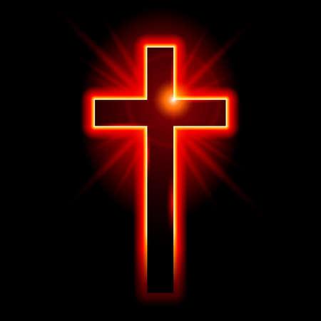 십자가의 기독교 상징. 검은 배경에 그림